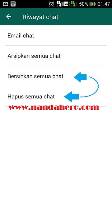 Cara Mengatasi WhatsApp Lemot Akibat Kode dengan menghapus semua chat wa grup dan pm
