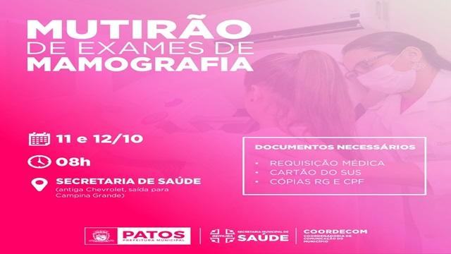 Outubro Rosa: Prefeitura de Patos realiza mutirão de mamografias neste domingo e segunda