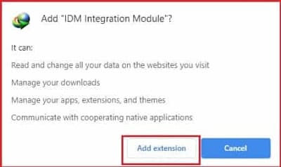 add IDM extension in Chrome