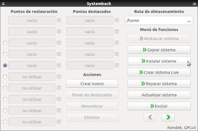 Systemback Instalar sistema