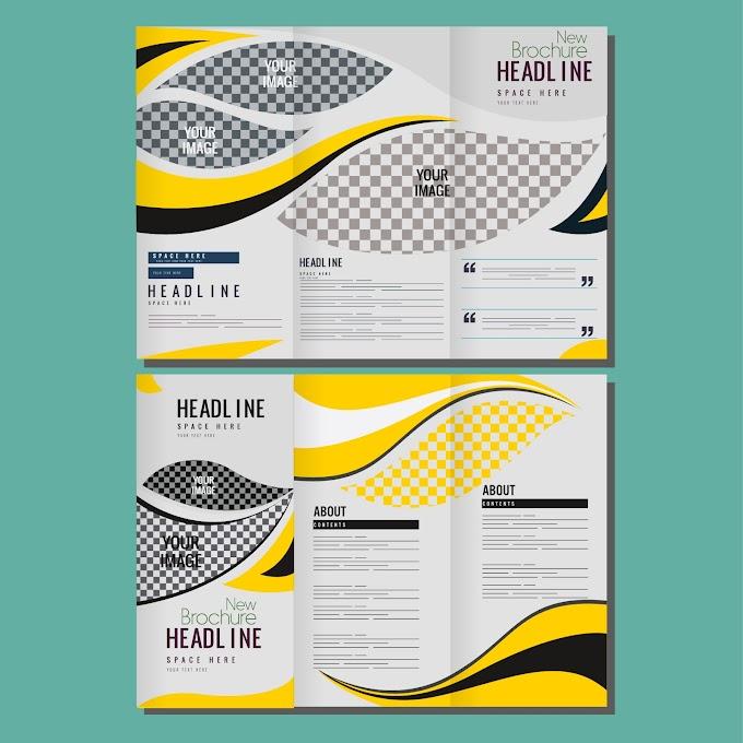 Corporate brochure templates bright modern checkered curves decor Free vector