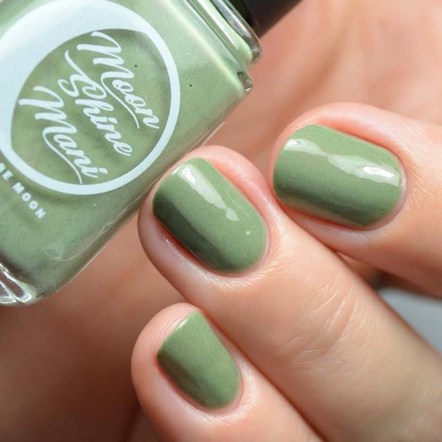 olive green nail polish with rainbow shimmer