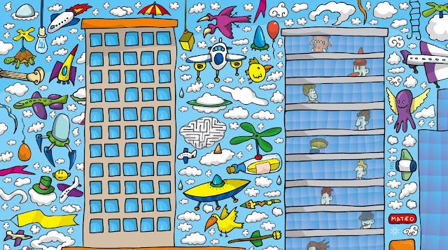 Ilustrador alexiev gandman buscando en los rascacielos for Jardin de genios revista 2016