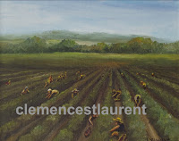 Ile d'Orleans, Quebec, is known for its strawberry growing agriculture - 8 x 10 oil painting by Clemence St. Laurent