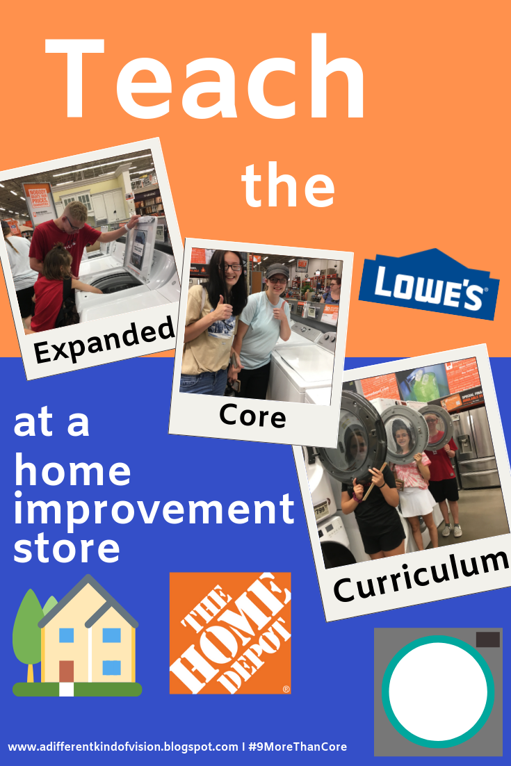 Text with three pictures of students touching appliances at The Home Depot