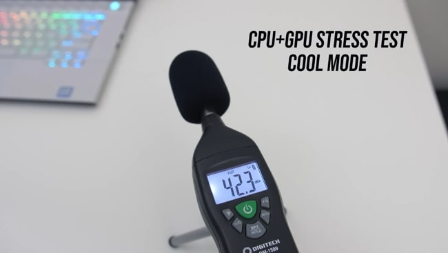 Digitech's sound level meter was measuring the noise produced by fans during CPU+GPU stress tests at cool mode of Dell Alienware m115 r2 gaming laptop.