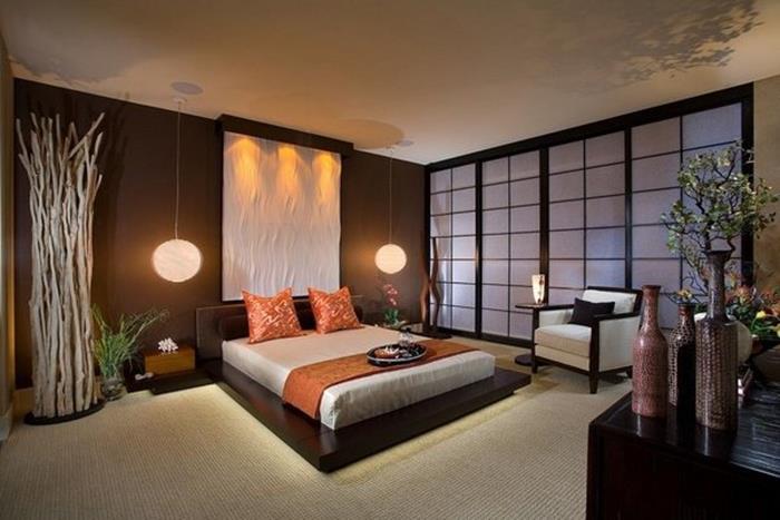 japon tarzı bitki bambu ağacı bonsai yatak odası dizaynı