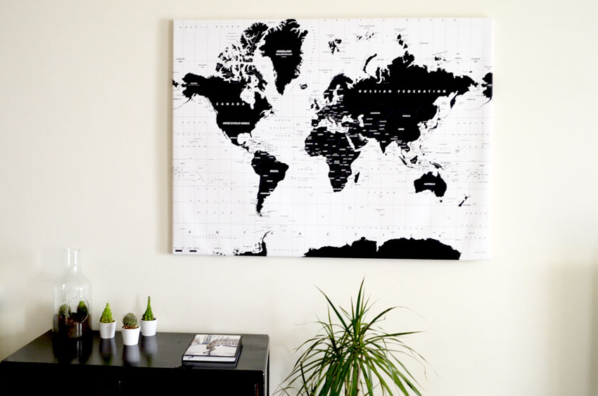 Polished cats home deco world map canvas by wereldkaarten