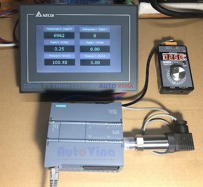 Lập trình PLC S7-1200 đọc tín hiệu analog từ cảm biến áp suất ATVN2019 hiển thị lên màn hình DOP-107DV