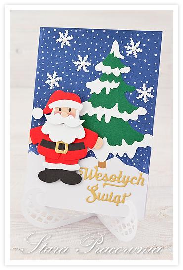 kartki ręcznie robione, kartka ręcznie robiona, handmade cards, kartka świąteczna, big shot, distress ink, kartka z mikołajem