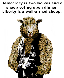 Liberty is a well-armed sheep, meme image by Wendy Cockcroft