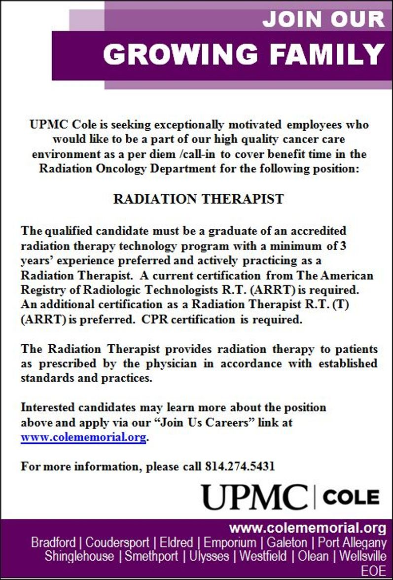 upmc cole has an opening for a radiation therapist
