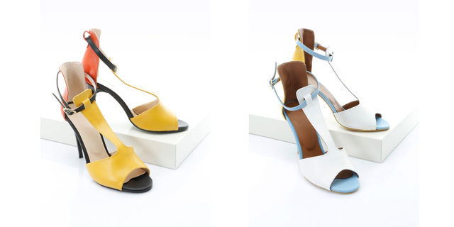 Sandale Stiletto galbene, albe elegante ieftine cu toc inalt la moda