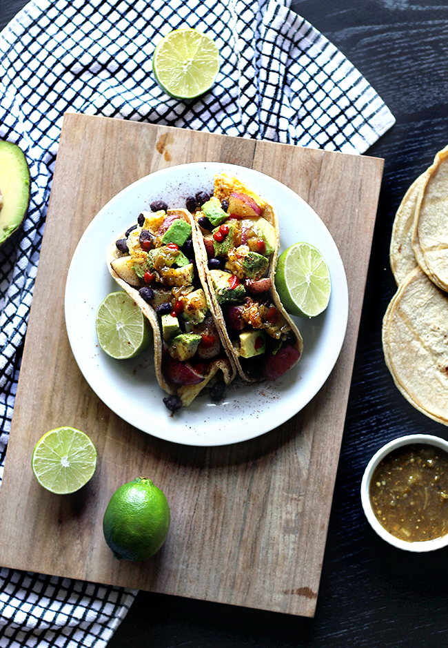 Vegetarian Breakfast Tacos with Red and Yellow Potatoes
