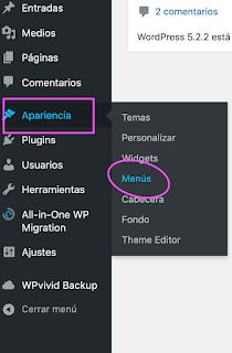 """Para personalizar el menú con Wordpress, hay que ir a la sección """"Apariencia"""" y luego a """"Menús"""""""