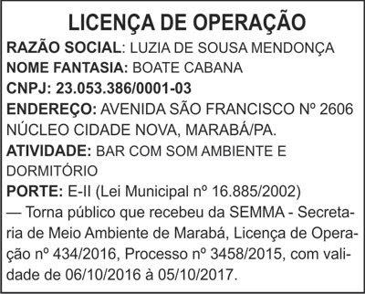 LICENÇA DE OPERAÇÃO -- BOATE CABANA / MARABÁ-PA