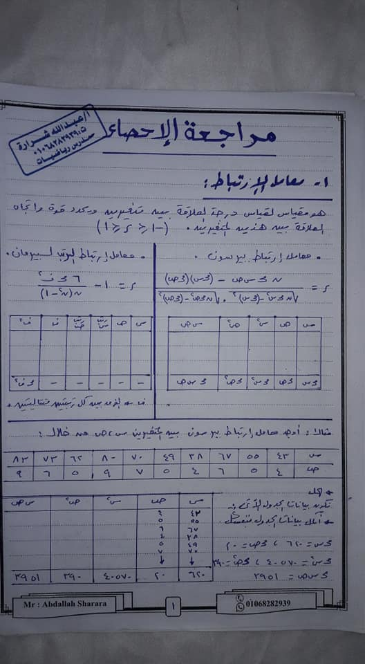 مراجعة الإحصاء للصف الثالث الثانوي أ/ عبد الله شرارة 1