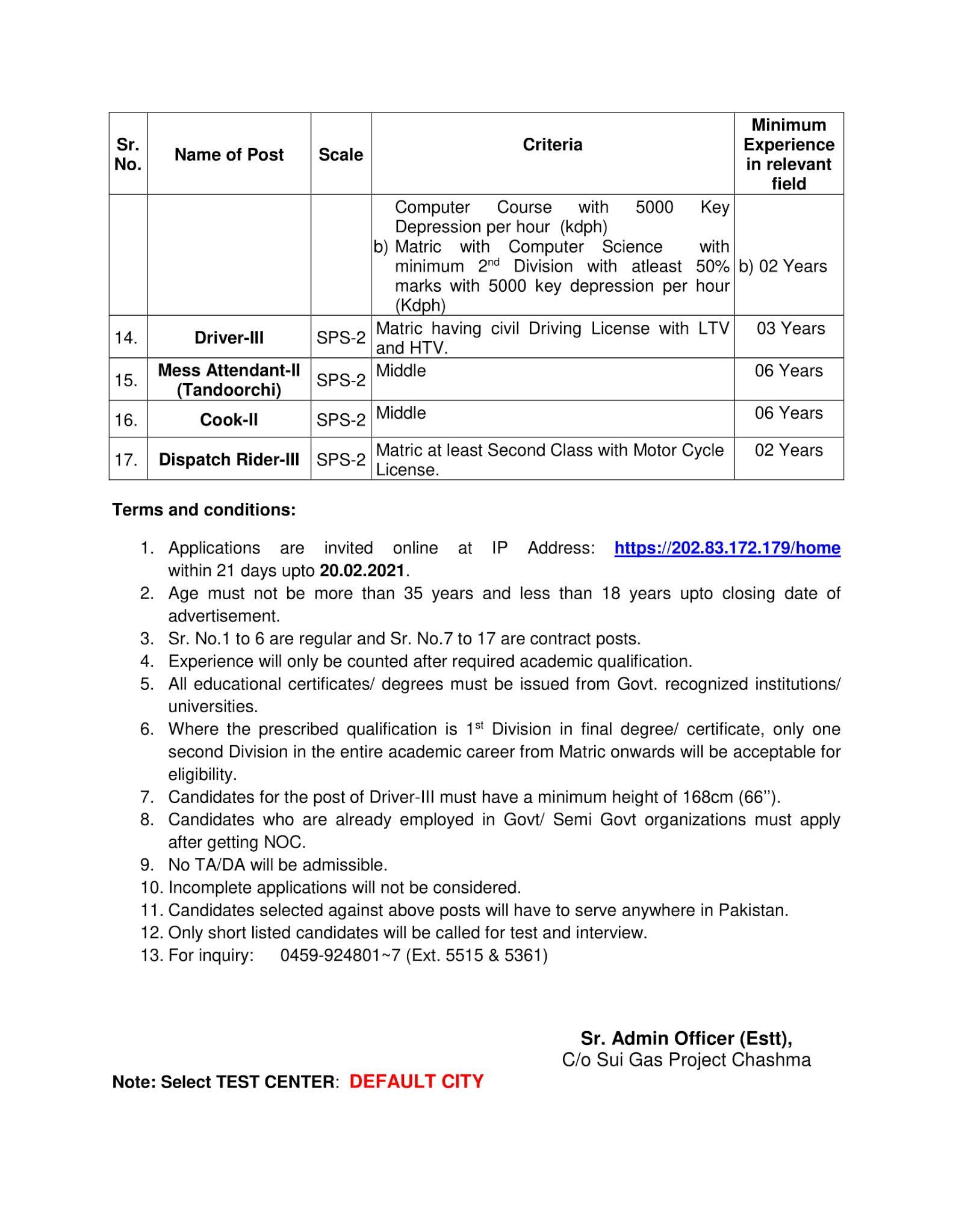 Sui Gas jobs 2021||Chashma Atomic Energy Jobs 2021