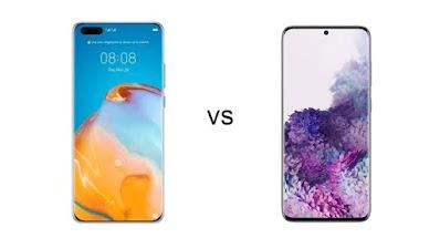 perbedaan ukuran layar samsung s20 ultra dan huawei p40 pro plus