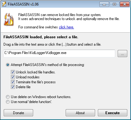 Delete Locked file with FileASSASSIN-to remove pop-ups generating adware