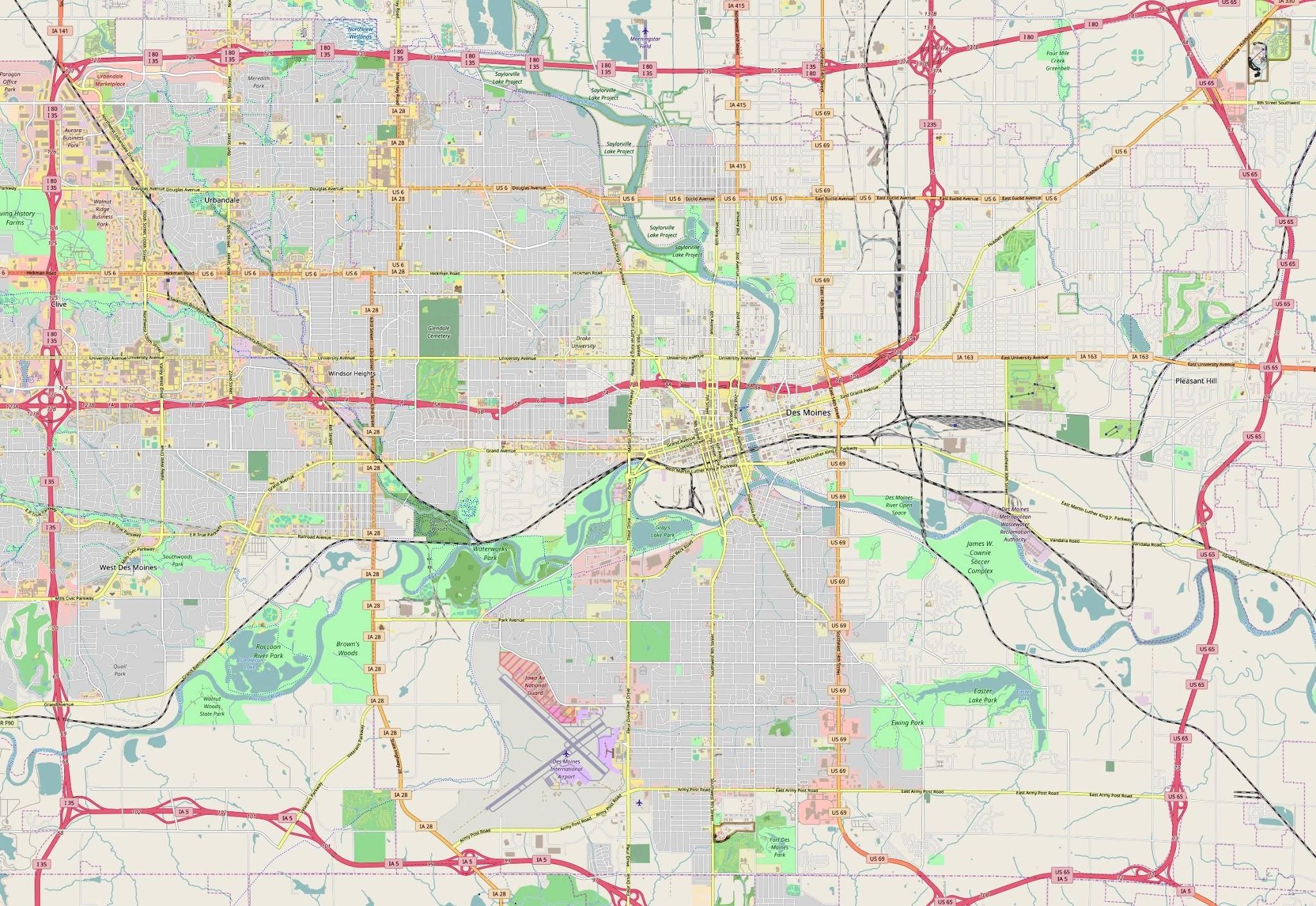 Des Moines, Iowa Map - Car Radio | GPS