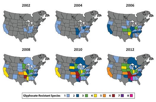 Geographic distribution of glyphosate resistant species