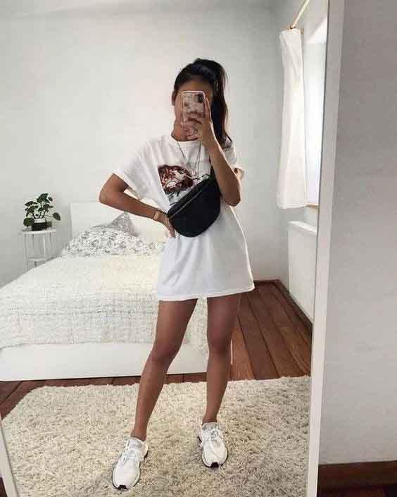 Como usar vestido camiseta