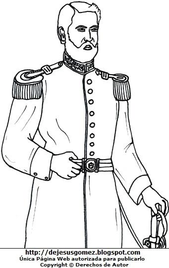 Dibujo de José Gálvez parado para dibujar o colorear. Ilustración de José Gálvez de Jesus Gómez