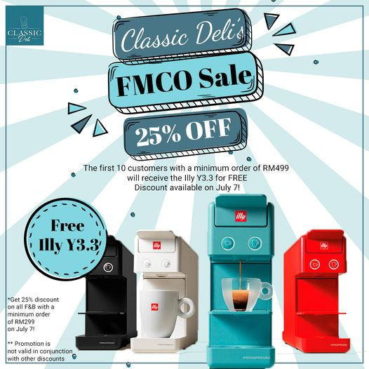 classic deli: fmco sale on july 7 with 25% off f&b purchases & free coffee machines