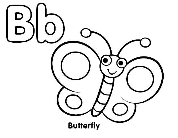 b for butterfly coloring pages - photo #4