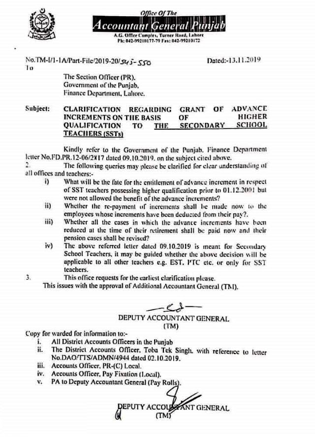CLARIFICATION REGARDING GRANT OF ADVANCE INCREMENTS ON THE BASIS OF HIGHER QUALIFICATION