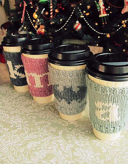 Christmas Coffee Cozies - Free Pattern