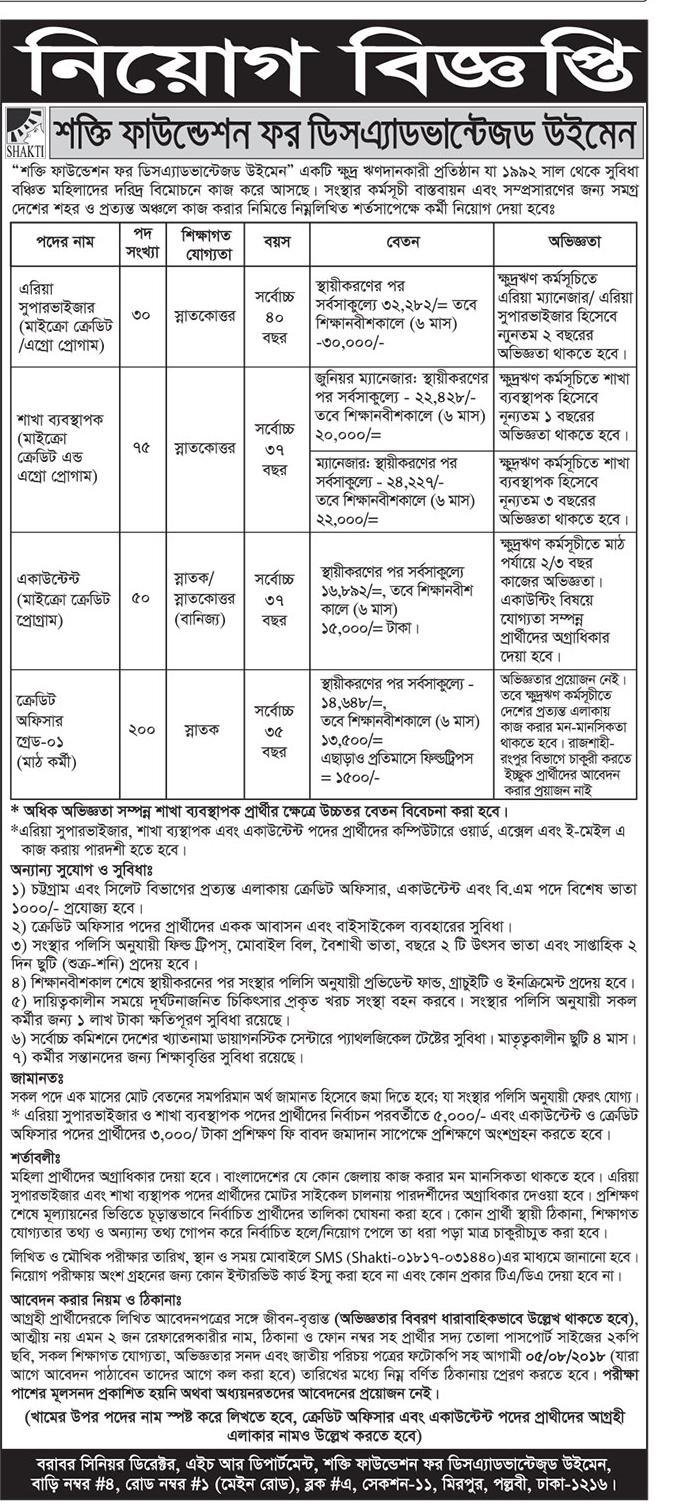 Sakti Foundation Job Circular 2018
