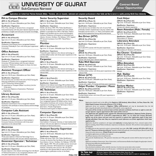 UOG Jobs in Narowal Campus