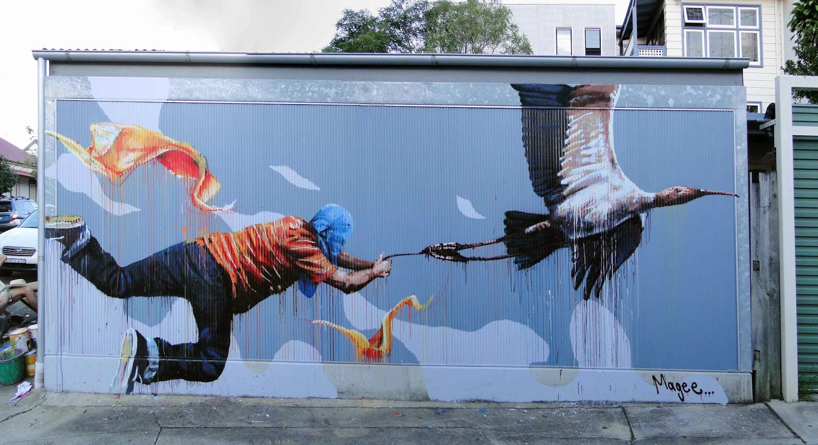 Fintan Magee is still travelling around Australia where he just wrapped up this dope new piece on the streets of Leichardt, Sydney. 1