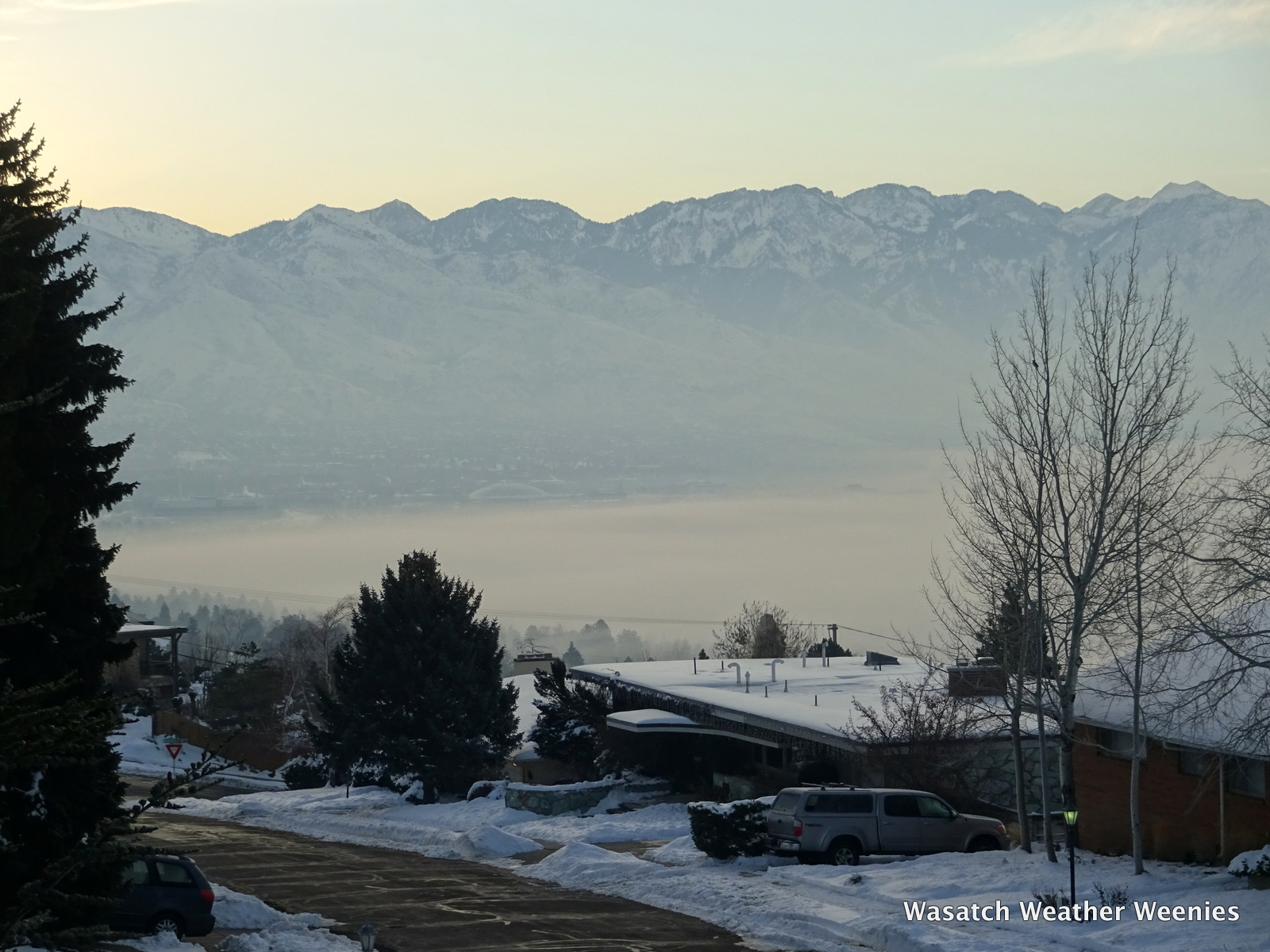Views This Morning From The Upper Avenues Showed Smog And Stratus Over The Lower Salt Lake Valley