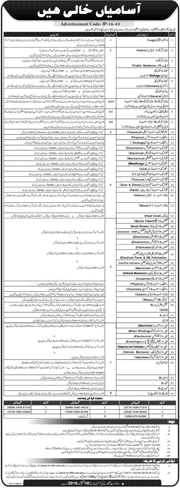 Jobs in Public Sector Scientific and Technical Department
