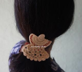 free crochet angel motif pattern, free crochet angel hair clip pattern