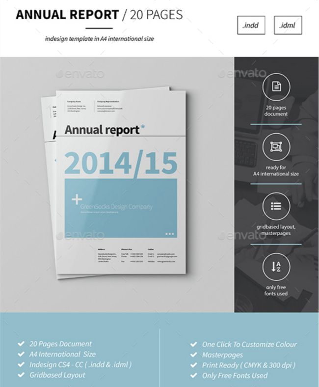 Annual Report Template By GreenSocks  Annual Report Template Design