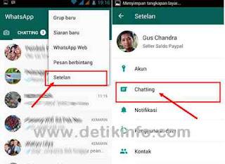 menu setelan di whatsapp