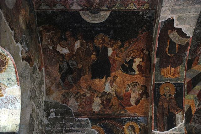 Alimentación de los cinco mil, fresco de autor anónimo (Hagia Sofía), Estambul, Turquía