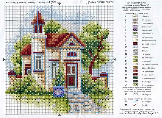 Схемы вышивки домики фото