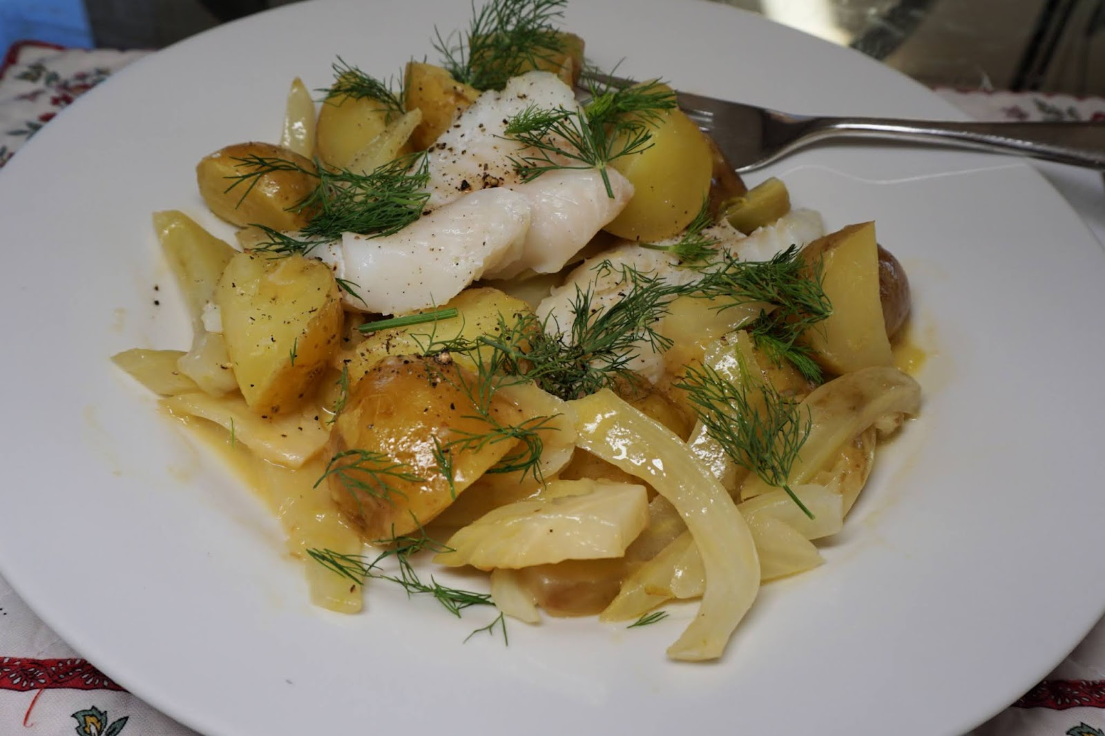Pollock on new potatoes and fennel