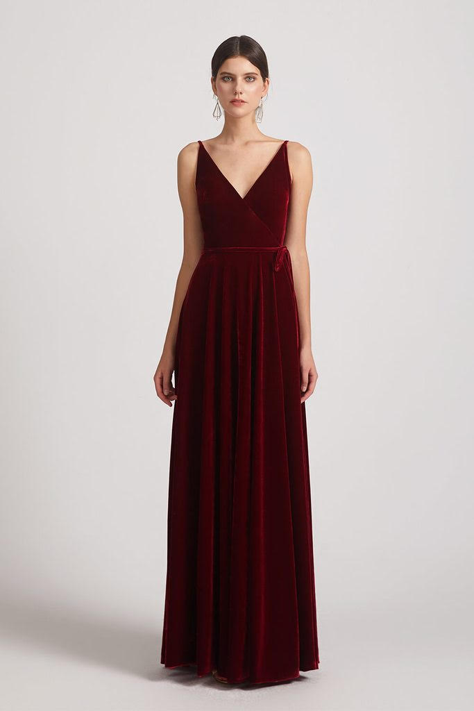 velvet bridesmaid gowns