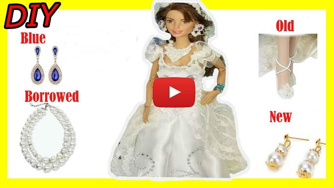 EASY DIY DOLL CLOTHES | DIY WEDDING DRESS | HOW TO MAKE DOLL WEDDING DRESS