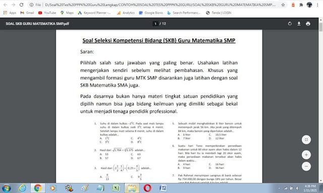 Contoh soal tes PPPK matematika SMP pdf dan kunci jawaban