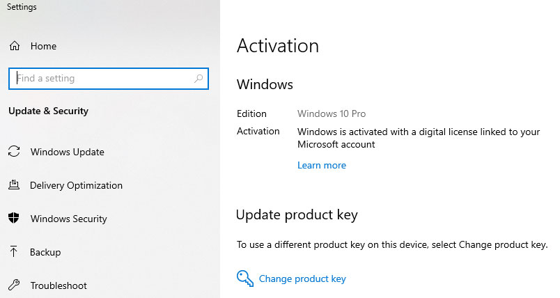 Windows 10 Activation Screen
