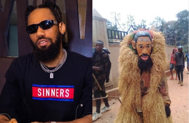 Phyno honoured with face of masquerade in Igbo land