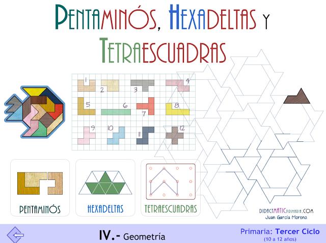 Pentaminós, hexadeltas y tetraescuadras.