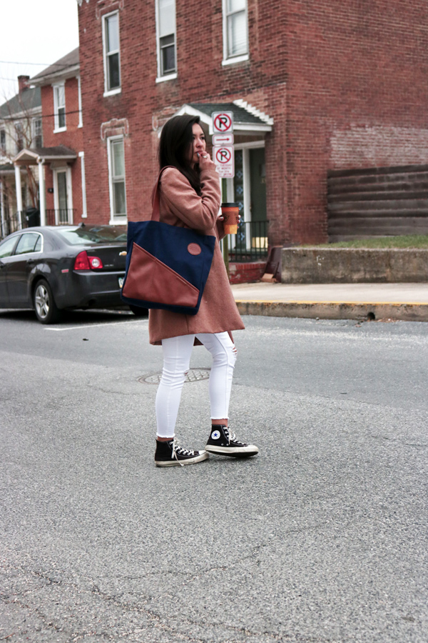 Camel Coat, White Jeans, Commuter Tote